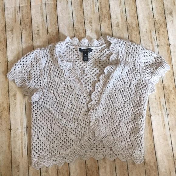 Sweaters Light Tan Crochet Short Sleeve Cardigan Poshmark